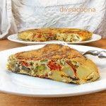 Tortilla de patatas salteadas con verduras