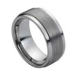 Men's 9mm Tungsten Carbide Wedding Band Ring with Step Down Edges