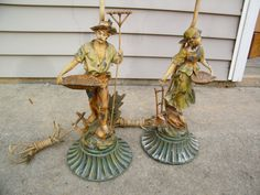 French Figural Lamps / Country  French Theme / Pot Metal / Boy and Girl