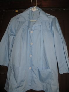 Vintage  BLUE   womens work smock top shirt by Linsvintageboutique