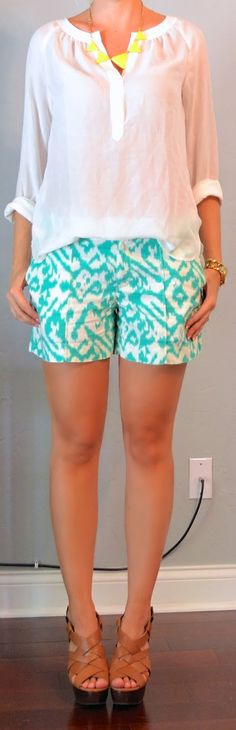 teal ikat shorts, white peasant blouse, neon necklace