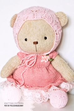 Shabby Chic Teddy Clothes Knitted Pattern #knitting #PATTERN #doll #clothes #handmade #teddy #outfit Diy Teddy Bear, Knitted Teddy Bear, Teddy Bear Clothes, Teddy Bears, Knitting Terms, Knitting Patterns, Free Knitting, Stuffed Animal Patterns, Diy Stuffed Animals