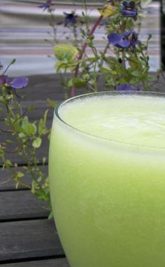 """Cucumber Honeydew Smoothies from Food.com: I made this a couple of weeks ago, and it was delish!  """"Irish or not, you'll love sipping the green with this captivating melange of honeydew melon, cucumber, and lime juice."""""""