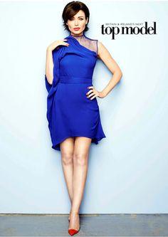 Australian singer, songwriter and artist Danii Minogue wears a robin blue chiffon dress by Gaurav Gupta