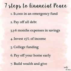 Finanzen - 7 baby steps to financial peace // Dave Ramsey Financial Peace University - Mypin Financial Quotes, Financial Tips, Financial Planning, Budgeting Finances, Budgeting Tips, Finances Debt, Dave Ramsey Financial Peace, Money Makeover, Personal Finance