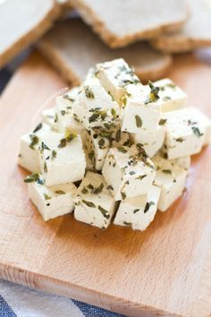 This vegan tofu feta cheese has almost no fat and it's cholesterol-free. It's fresh and very easy to make. Also contains links to other vegan cheeses. Vegan Feta Cheese, Vegan Cheese Recipes, Tofu Recipes, Vegan Snacks, Whole Food Recipes, Tofu Cheese Recipe, Vegan Food, Cheese Fruit, Vegan Parmesan