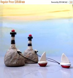 Holidays sale Miniature ceramic lighthouse with a little ceramic boat , miniature ceramic sculpture / ceramics and pottery / for him / colle on Etsy, $44.76 AUD