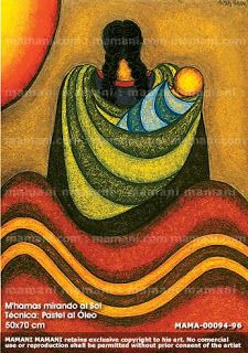 """Beautiful babywearing art by Roberto Mamani - better known worldwide as """"Mamani Mamani"""" Mamani Mamani is an Indigenous painter based out of La Paz - the capitol of Bolivia. His artwork depicts daily agricultural life for the Aymara people, which includes lots of babywearing! Arte Latina, Peruvian Art, Mexico Art, Diego Rivera, Art Africain, Creation Couture, Mexican Folk Art, Fabric Painting, Indian Art"""