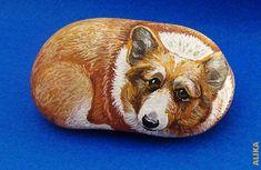 Corgi hand painted rock. by Alika-Rikki, via Flickr