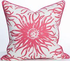 South Beach Collection - Anemone Magenta Pillow: Beach Decor, Coastal Home Decor, Nautical Decor, Tropical Island Decor & Beach Cottage Furnishings