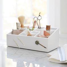Wooden 12 Compartment Vanity Organizer with Magnetic Strip - Threshold™ : Target Vanity Organization, Craft Organization, Makeup Storage, Bedroom Closet Storage, Under Sink Storage, White Vanity Bathroom, Bathroom Shelves, Beauty Room, My New Room