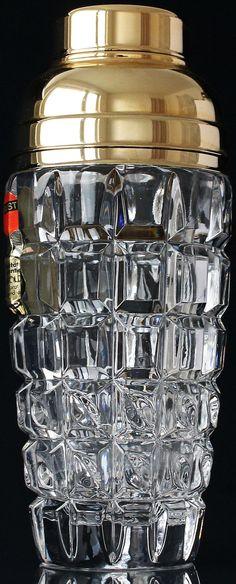 Gold & Crystal Cocktail Shaker / Barware / Vintage / Bartending / Mixology