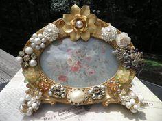 Clawfoot Vintage Jeweled Picture Frame by MyInnerPrincess on Etsy, $54.95