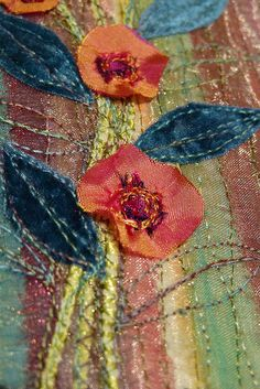 Another small unframed textile panel with silk flowers and velvet leaves. Embroidery Art, Machine Embroidery, Thread Painting, Fabric Art, Silk Flowers, Textile Art, Fiber Art, Embellishments, Textiles
