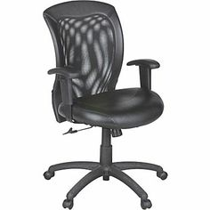 Global Airflow Leather Seat with Mesh Mid-Back Managers Chair, Black - $199.99