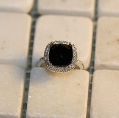 Natural Black Onyx and Diamond Halo Engagement Ring in 14k White Gold 10x10 mm Cushion Cut Square Gemstone Gold Ring by MidPointDesign on Etsy https://www.etsy.com/listing/209343066/natural-black-onyx-and-diamond-halo