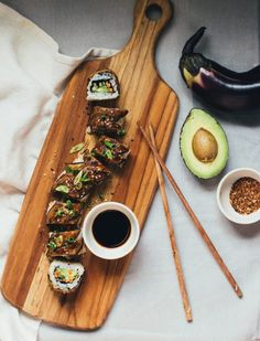 Eggplant Dragon Roll | Vegan Recipe by From The Land We Live On