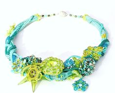Swarovski Necklace Laguna, Statement spring jewelry, Crystal beadwork jewellery, Pearl wedding necklace, Turquoise, Green, Ready to ship by ensaga on Etsy