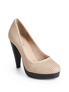 Boo. My size is sold out. Perfs make them airy for summer. Rebecca Minkoff - Vixen Perforated Leather Platform Pumps - Saks.com