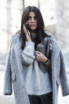 H&M Faux Fur Coat with layered with a Grey Mohair Sweater