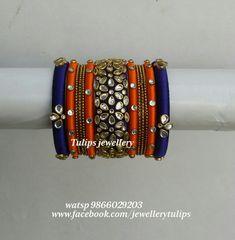Silk Thread Jhumkas, Silk Thread Bangles Design, Silk Thread Earrings, Thread Jewellery, Kundan Bangles, Silk Bangles, Bridal Bangles, Designer Bangles, Bridal Chura