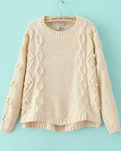 Beige Long Sleeve Geommetric Knitting High Low Sweater 23.33