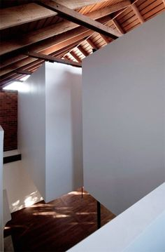 Floating white boxes. North Fremantle house renovation, Perth.
