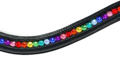 Bling Browband Rainbow This is a beautiful bling browband made out of black leather and rainbow crystals. The browband is softly padded and wave shaped. This browband is custom made and takes about a week to finish. If you require additional sizes and colours please get in contact via the Product Enquiry tab.