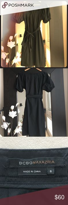 BCBGMAXAZRIA Black Dress Pleated neckline detail with billowed, banded sleeves. Tie at the waist, perfect all occasion black dress. Like new condition. BCBGMaxAzria Dresses Midi
