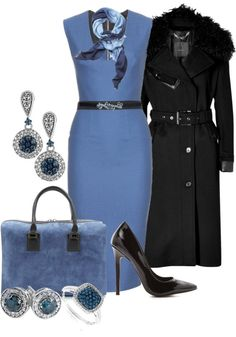 Another lovely outfit for work for # women over 50 # fashion Black and Blue by christa72 on Polyvore