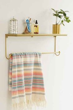 Shop Florentine Bath Shelf at Urban Outfitters today. Architecture Miami, Bath Shelf, Brass Bathroom, Downstairs Bathroom, Art Deco, Mirror With Shelf, Vanity Decor, Bath Design, Condo Design