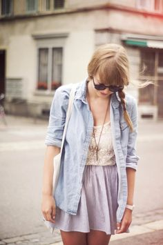 lavender skirt, white tank top, chambray unbuttoned blouse with rolled sleeves and long gold necklace