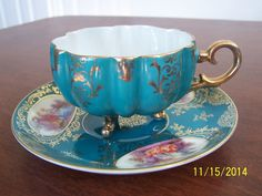 Lefton China Hand Painted 3 Footed Tea Cup & Saucer Green & Gold Design Fluted #LeftonChina