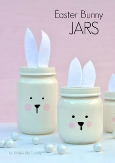 Painted Easter Bunny Jars {made from baby food jars} Ideal Easter Bunny Craft that's not just for Easter | British designed unisex baby and kids fashion clothing brand for stylish little ones. The bonnie mob ship worldwide from the UK.