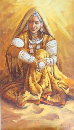 Rajasthani Woman by Sanjay Soni. Beautiful painting or rangoli, Indian art, village girl portrait