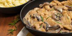 Fajitas de pollo con tocino y champiñones en salsa chipotle, ¡listas en 15 minutos! Mushroom Stew, Mushroom Stroganoff, Mushroom Chicken, Chicken Thyme, Mushroom Recipe, Boeuf Stroganoff Rezept, Elimination Diet Recipes, Paleo Recipes, Cooking Recipes