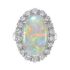 Estate Collection Opal & Diamond Cluster Cocktail Ring