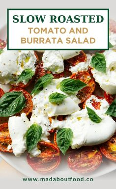 Enjoy this Burrata Caprese salad – a creamy twist on the classic Italian tomato salad. This Burrata salad combines fresh heirloom tomato with creamy burrata cheese (in place of the traditional Mozzarella) and basil. It is fresh, creamy, and packed with flavor and nutrients! Appetizers For A Crowd, Low Carb Appetizers, Food For A Crowd, Appetizers For Party, Appetizer Recipes, Burrata Salad, Burrata Cheese, Tomato Salad, Caprese Salad