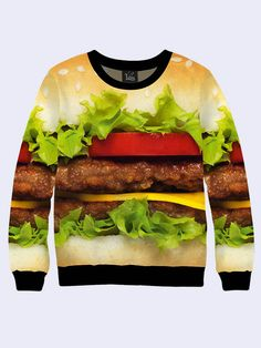 Men's male youthful 3D print sweatshirt Cheeseburger Long sleeve Made in Ukraine by Vilno on Etsy