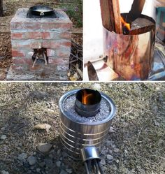 Off Grid Rocket StoveRocket stoves are another great option for outdoor cooking. They're really cheap & easy to build. All they require to produce lots of heat is small branches. The DIY world has a tutorial for building a small portable rocket stove out Off Grid, Diy Rocket Stove, Rocket Stoves, Homestead Survival, Survival Prepping, Survival Hacks, Wilderness Survival, Survival Skills, Outdoor Projects