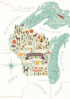 map of wisconsin illustration by michael mullan Maps Design, Interaktives Design, Graphic Design, Travel Maps, Travel Posters, Minnesota, Illinois, Michigan, Wisconsin Dells