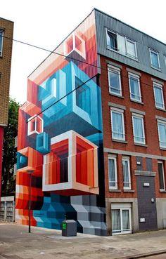 Wall paints, Muurschilderingen, Peintures Murales,Trompe-l'oeil, Graffiti, Murals, Street art.: Rotterdam - Netherlands June