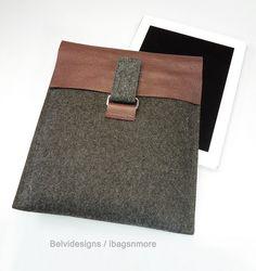 iPad 3 iPad 2 case sleeve cover - Grey wool felt w burgundy or chianti leather - Masculine /manly