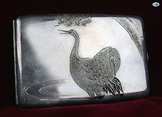 Antique Japanese Mikimoto Sterling Silver Birds .950 Cigarette Case in Box 1950s…