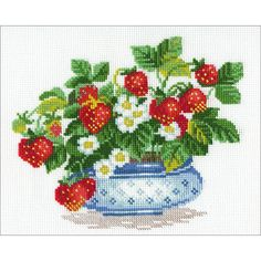 """Basket of Strawberries Counted Cross Stitch Kit - 6"""" x 7.25"""" 10 Count"""