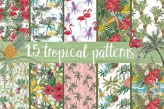 15 wAtercOlor Tropical patterns Graphics Set of 15 Watercolor painting seamless tropical pattern with palm trees, bananas, pineapples, coco by ramika