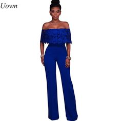 4287153a5092 Abasona Ruffles strapless embroidery lace bodycon jumpsuits Wide leg fashion  summer overalls female rompers 2017 new arrivals
