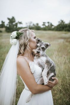 ©Emily Nicole Photo | bridal portraits with dog, wedding dog, Schnauzer mix, blind dog