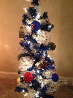 Superhero comic book Christmas tree made for my son by my comic book lovin hubby!