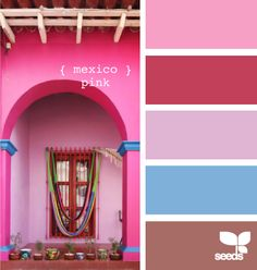 R - Rosa Mexicano (Mexican Pink) Colour Pallete, Colour Schemes, Color Palettes, Paint Palettes, Colour Combinations, Design Seeds, Mexican Colors, World Of Color, My New Room